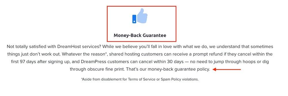 DreamHost Money Back Guarantee