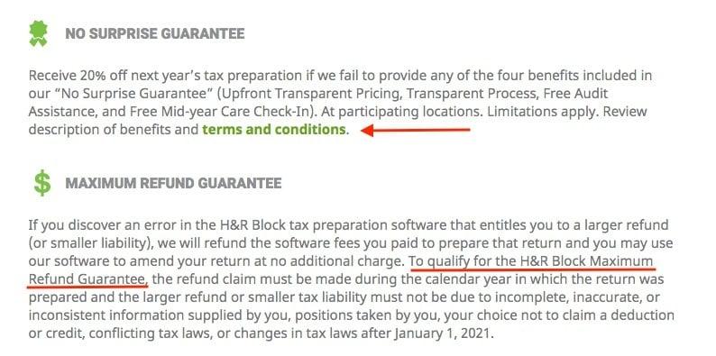 H and R Block Guarantees: No Surprise Guarantee and Maximum Refund Guarantee sections