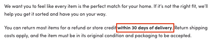 Wayfair Return Policy: Time limit for returns clause