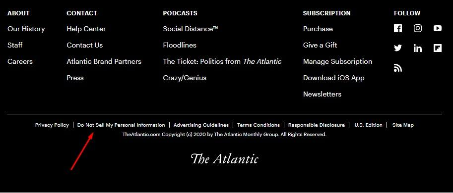 The Atlantic website footer with Do Not Sell My Personal Information link highlighted