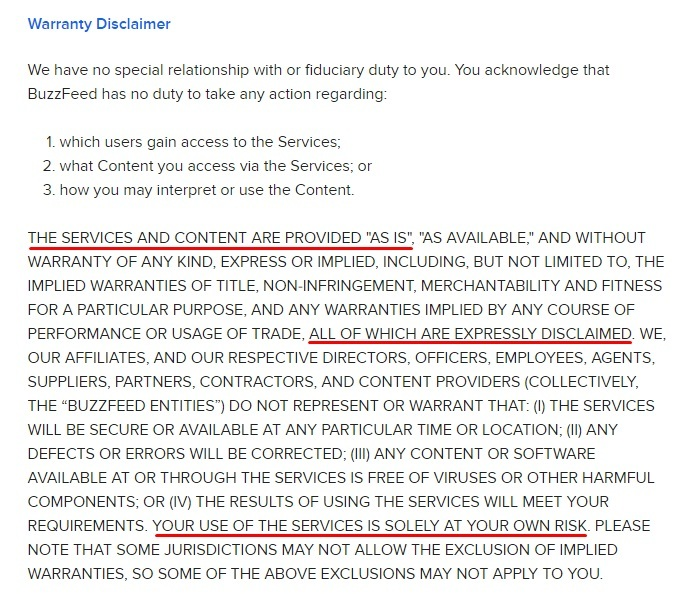 BuzzFeed Service User Agreement: Warranty Disclaimer