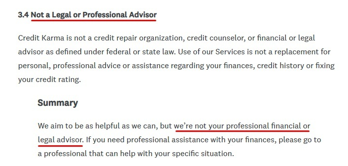 Credit Karma Terms of Service: Not a Legal or Professional Advisor clause