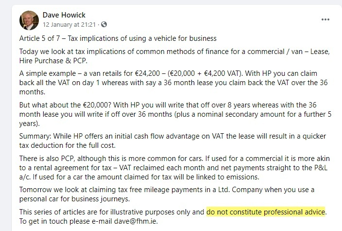 Dave Howick Facebook post with professional advice disclaimer highlighted
