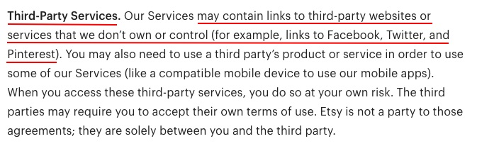Etsy Terms of Use: Third-Party Services clause