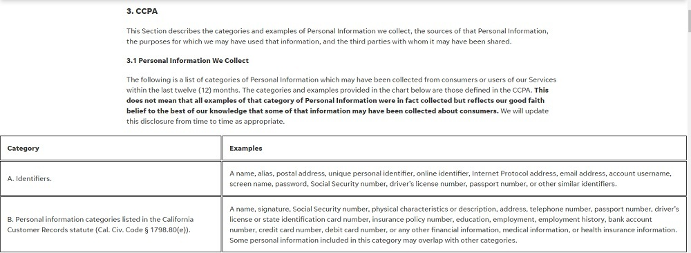 Gannett Privacy Policy for California Residents: CCPA - Personal Information We Collect clause and chart excerpt