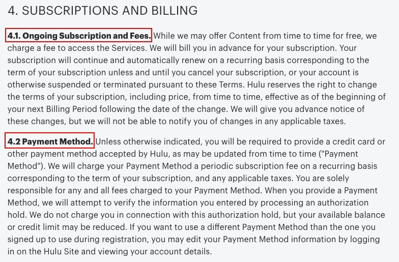 Hulu Terms and Conditions: Subscription and Billing clause excerpt