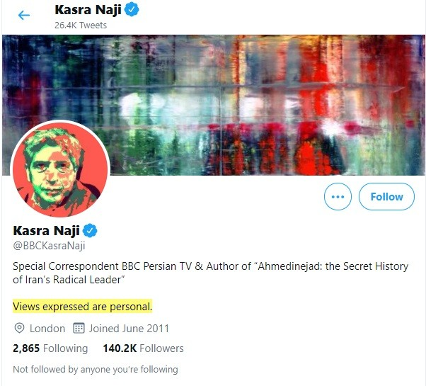 Kasra Naji Twitter account with views expressed are personal disclaimer highlighted