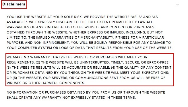 Lulus Terms of Service: Disclaimers clause