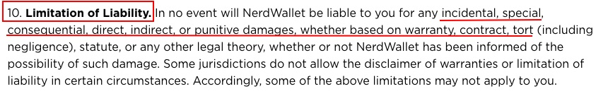 NerdWallet Terms of Use: Limitation of Liability clause
