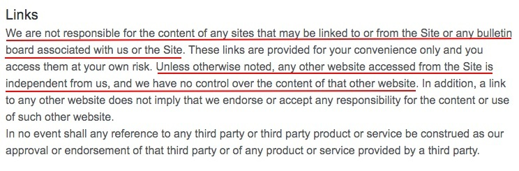 Overstock Terms and Conditions: Link clause - Disclaimer