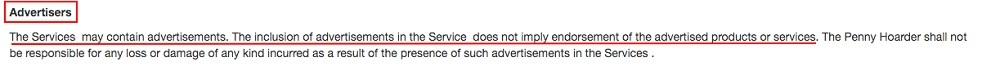 The Penny Hoarder Terms of Service: Advertisers clause