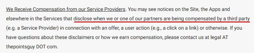 The Points Guy Terms of Use: We Receive Compensation from our Service Providers clause