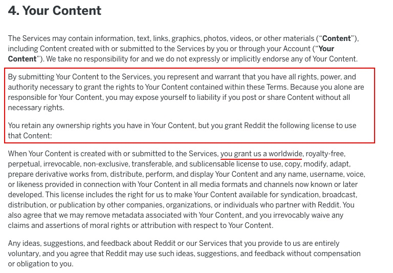 reddit User Agreement: Your Content clause excerpt