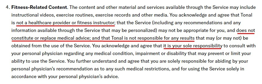 Tonal Terms of Service: Fitness-Related Content clause