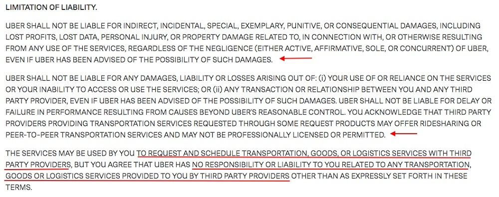 Uber US Terms of Use: Limitation of Liability clause