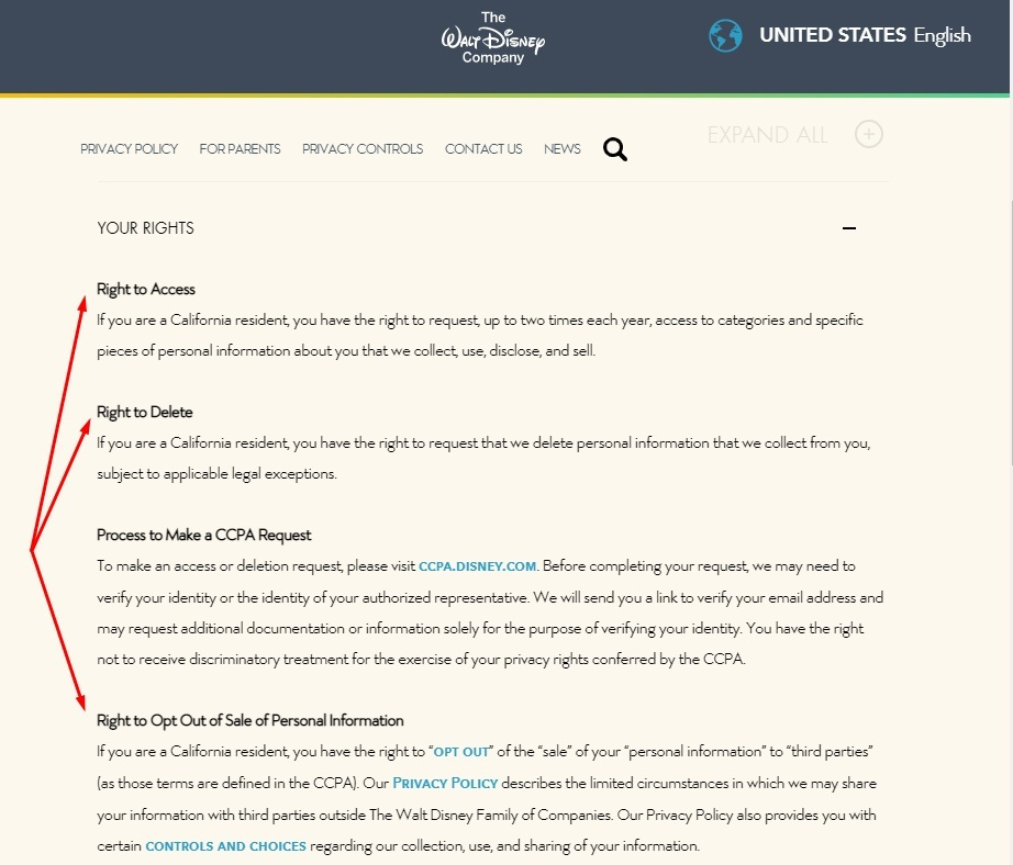 Walt Disney Privacy Policy: Your California Privacy Rights section