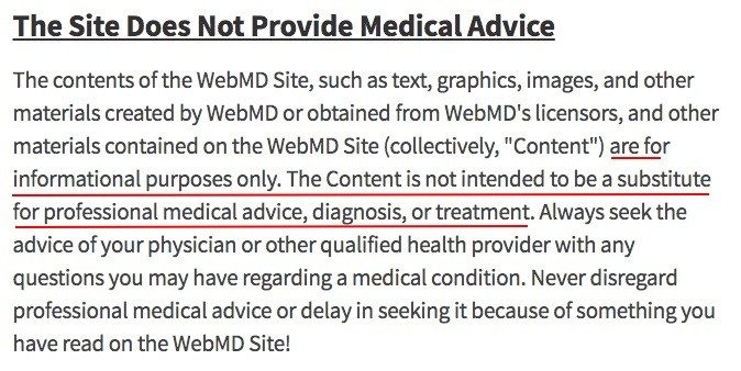 WebMD Terms and Conditions: Medical Advice disclaimer