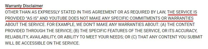 YouTube Terms of Service: Warranty Disclaimer