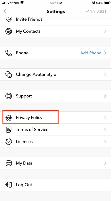 Bitmoji app Settings menu with Privacy Policy link highlighted