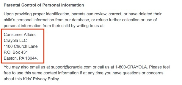Crayola Privacy Policy: Parental Control of Personal Information - Contact clause