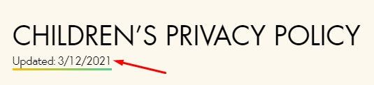 Disney Children's Privacy Policy with updated date highlighted