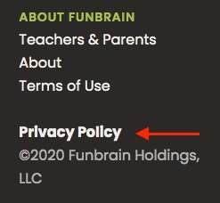 Funbrain website footer with Privacy Policy link highlighted