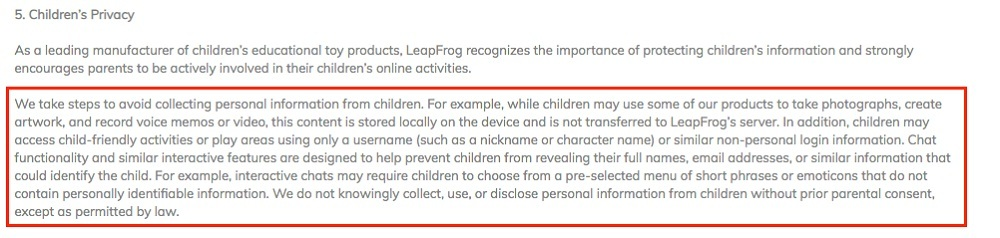 LeapFrog Privacy Policy: Children's Privacy clause