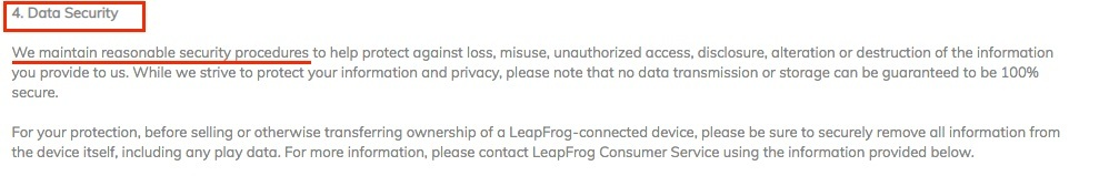 LeapFrog Privacy Policy: Data Security clause