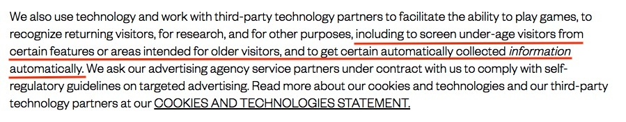 Mattel Children's Privacy Statement: Technology, third party partners and cookies clause