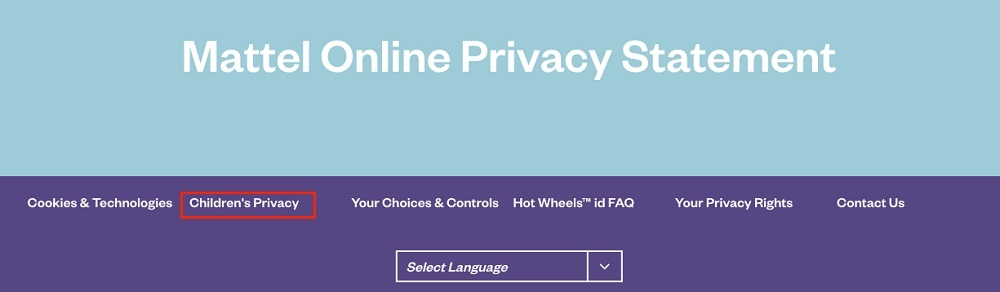 Mattel Online Privacy Statement header with Children's Privacy link highlighted