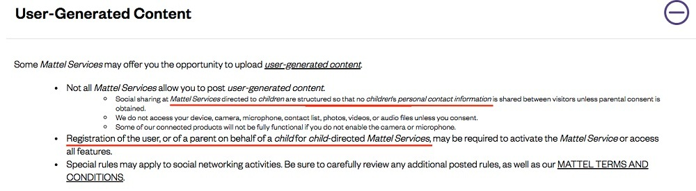 Mattel Privacy Policy: User-Generated Content clause