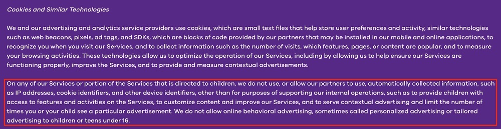 Nickelodeon Privacy Policy for Family and Kids: Cookies and Similar Technologies clause