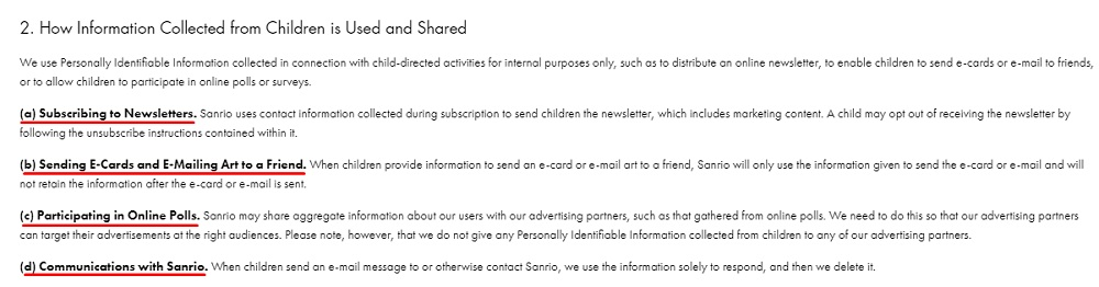Sanrio Children's Privacy Policy: How Information Collected from Children is Used and Shared clause excerpt