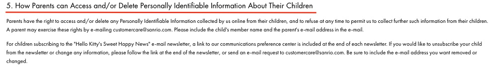 Sanrio Children's Privacy Policy: How Parents can Access and or Delete Personally Identifiable Information About Their Children clause