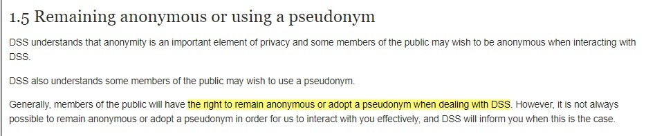 Australia Department of Social Services Privacy Policy: Remaining anonymous or using a pseudonym clause