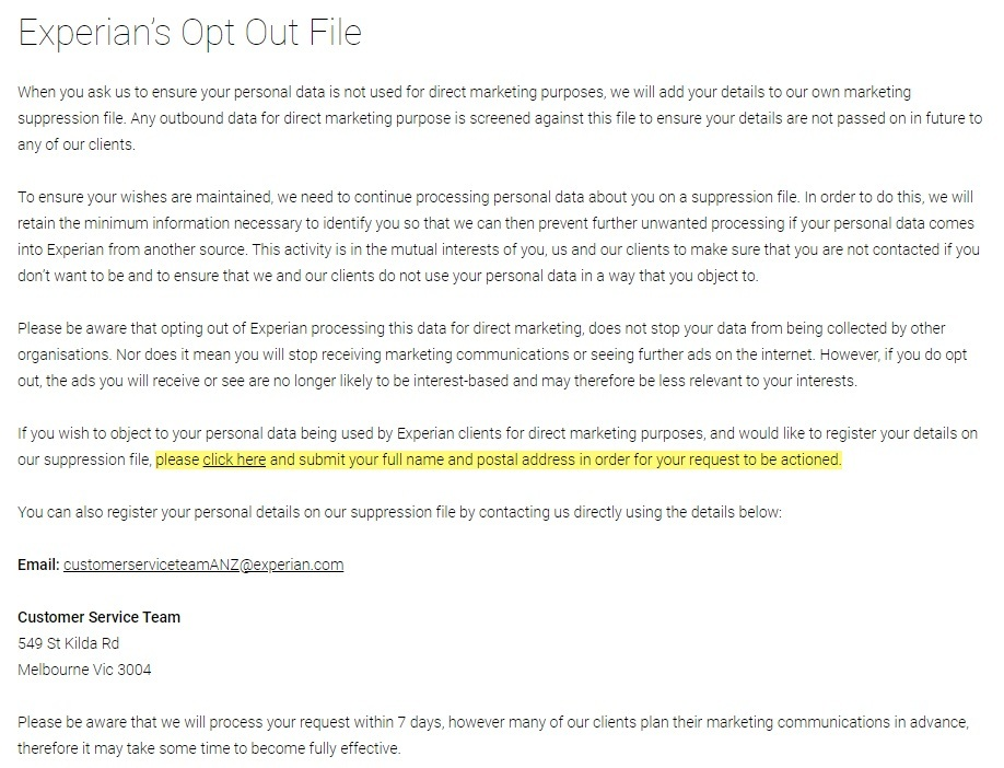 Experian Consumer Rights and Opting Out: Experian's Opt Out File section