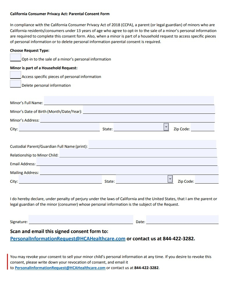 HCA Healthcare CCPA Parental Consent form with Revoke Consent section highlighted