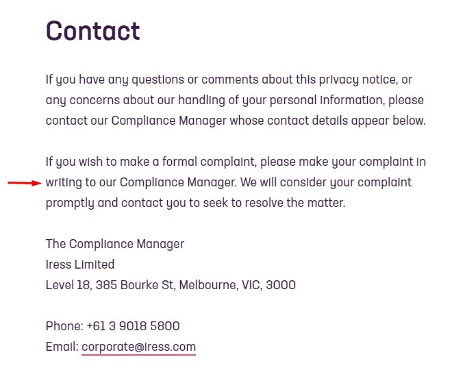 Iress Privacy Notice: Contact clause