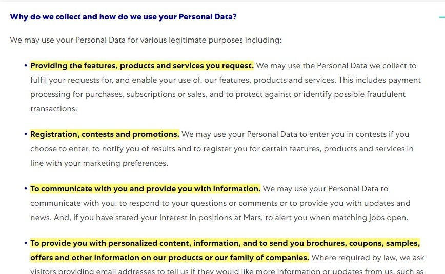 Mars Privacy Policy: Why do we collect and how do we use your Personal Data clause
