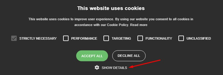 Propertymark Cookie Consent Notice with Details link highlighted