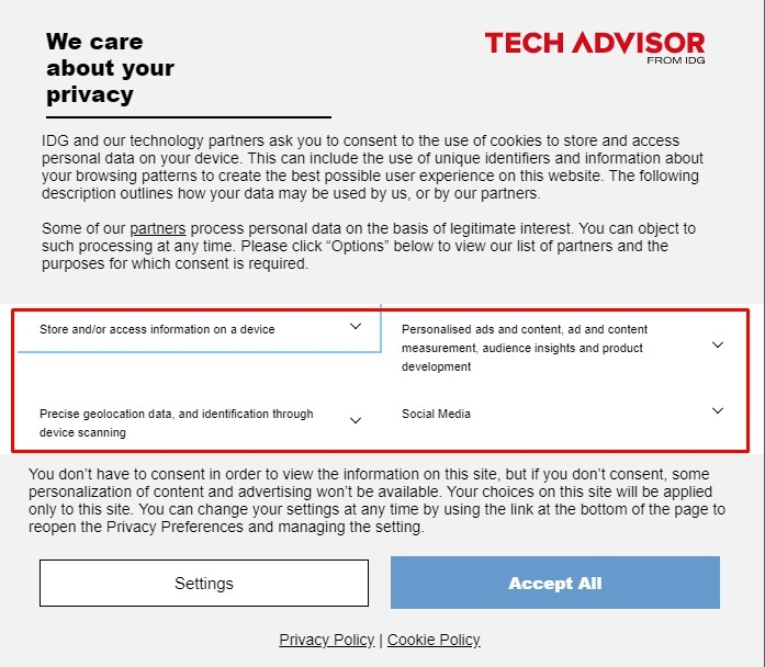 Tech Advisor Cookie Consent Notice with Options highlighted
