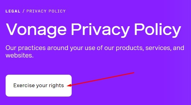 Vonage Privacy Policy header with Exercise your rights link