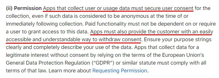 Apple App Store Review Guidelines: Data Collection and Storage clause - Permission section