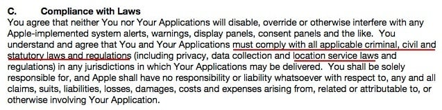 Apple Xcode and Apple SKDs Agreement: Compliance with Laws section