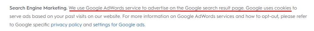 Criteo Privacy Policy: Data Collection and Use clause - Search Engine Marketing section with Google cookies highlighted