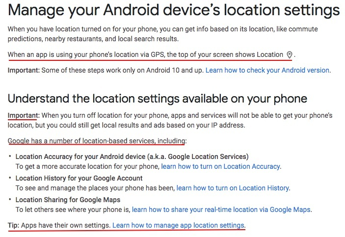 Google Account Help: Manage your Android device location settings page excerpt