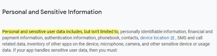 Google Play Console Help Policy Center: Personal and Sensitive Information section excerpt