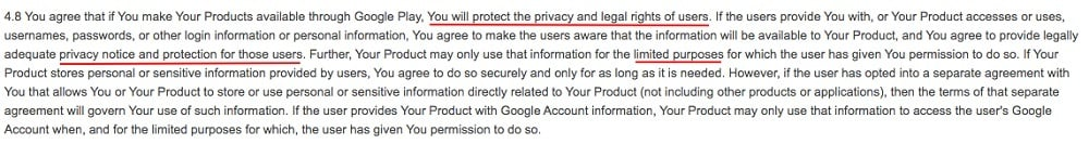 Google Play Developer Distribution Agreement: Protect privacy and legal rights section