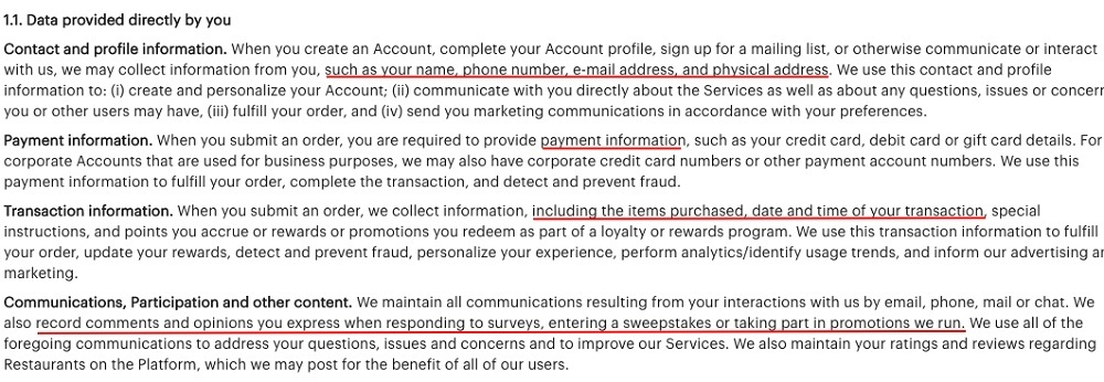 Grubhub Privacy Policy: Personal Information We Collect clause - Data Provided Directly By You section excerpt