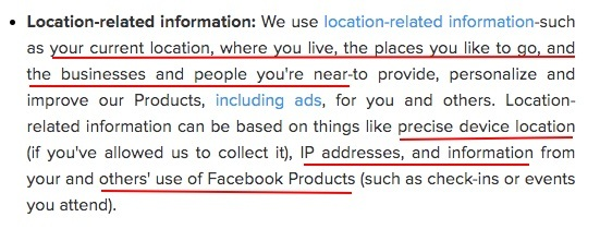 Instagram Data Policy: Location-related Information clause